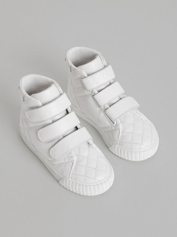 Quilted Leather High-top Sneakers in Optic White