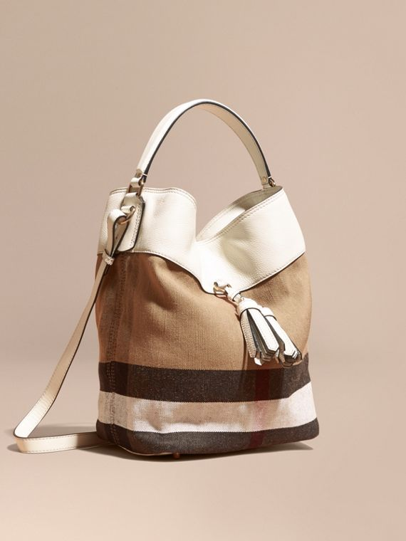 Sac The Ashby medium à motif Canvas check avec cuir Blanc/blanc