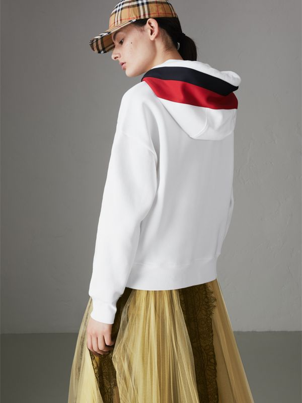 Stripe Detail Jersey Hoodie in White - Women | Burberry - cell image 2