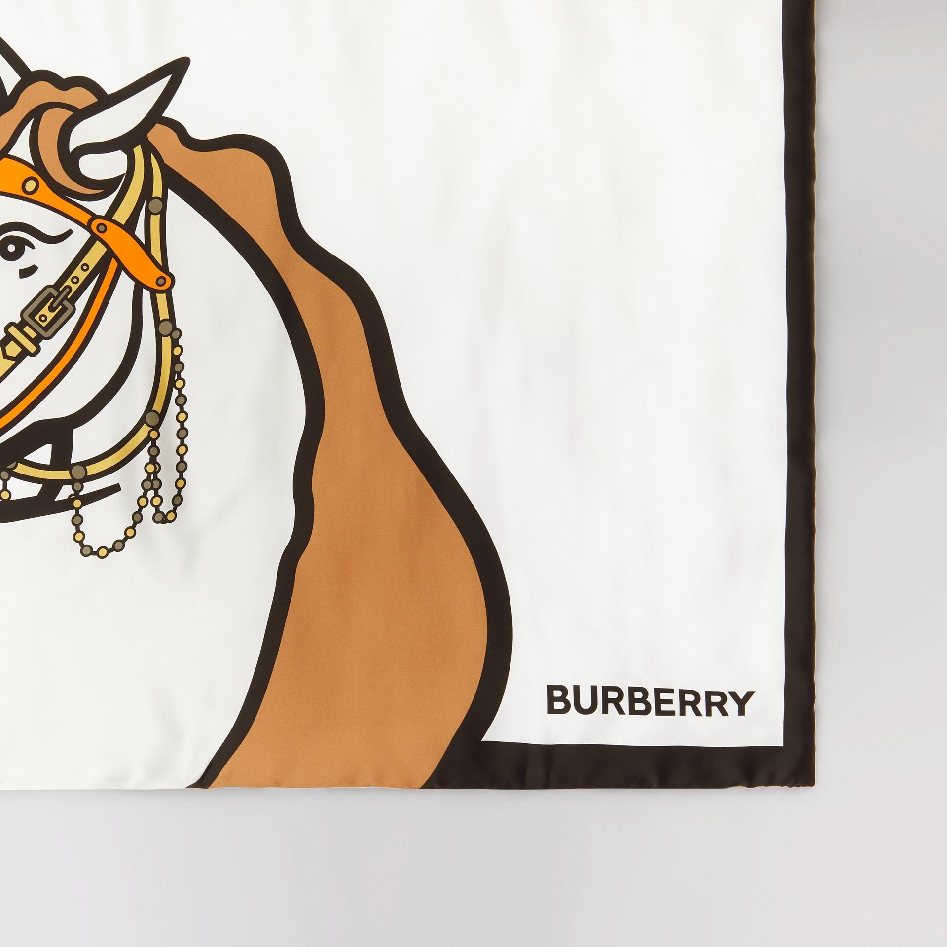 Unicorn Print Monogram Silk Satin Jacquard Throw in Camel | Burberry Canada - gallery image 1