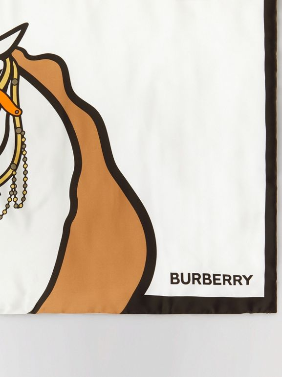 Unicorn Print Monogram Silk Satin Jacquard Throw in Camel | Burberry Canada - cell image 1