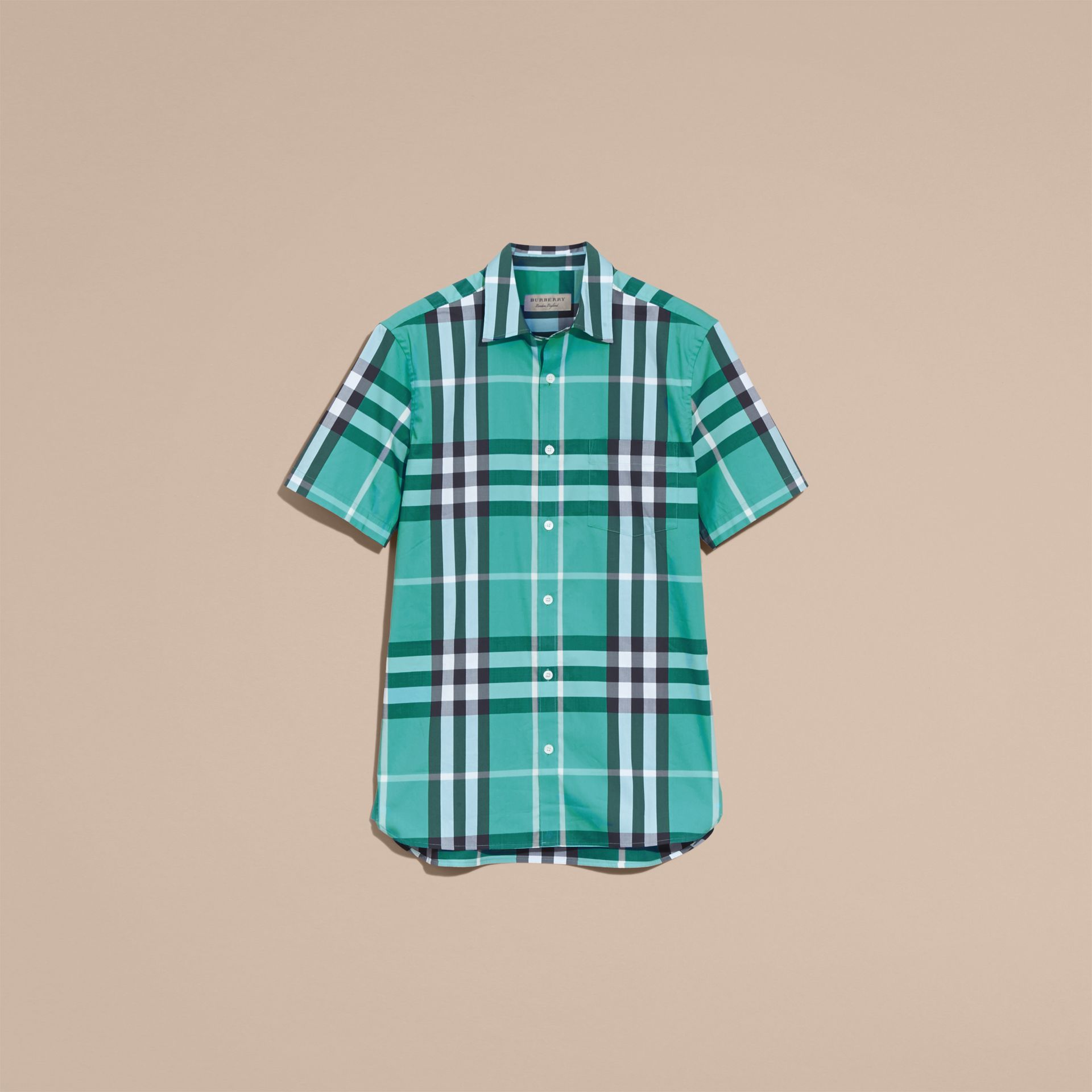 Short-sleeved Check Stretch Cotton Shirt in Cyan Green - Men | Burberry Canada - gallery image 4