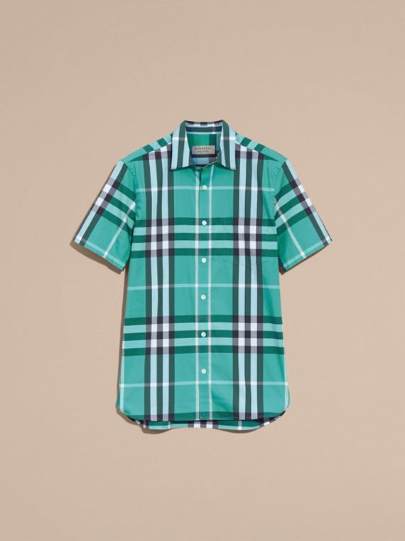Short-sleeved Check Stretch Cotton Shirt in Cyan Green - Men | Burberry Canada - cell image 3