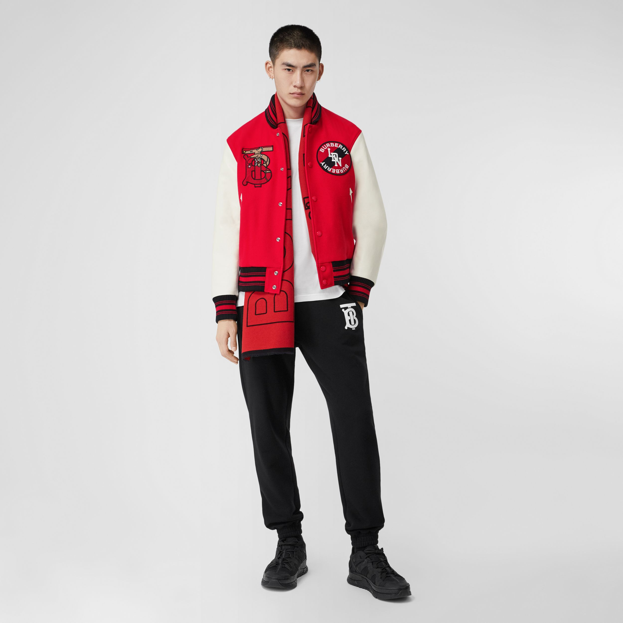 Contrast Sleeve Monogram Motif Wool Bomber Jacket in Bright Red - Men | Burberry - 1