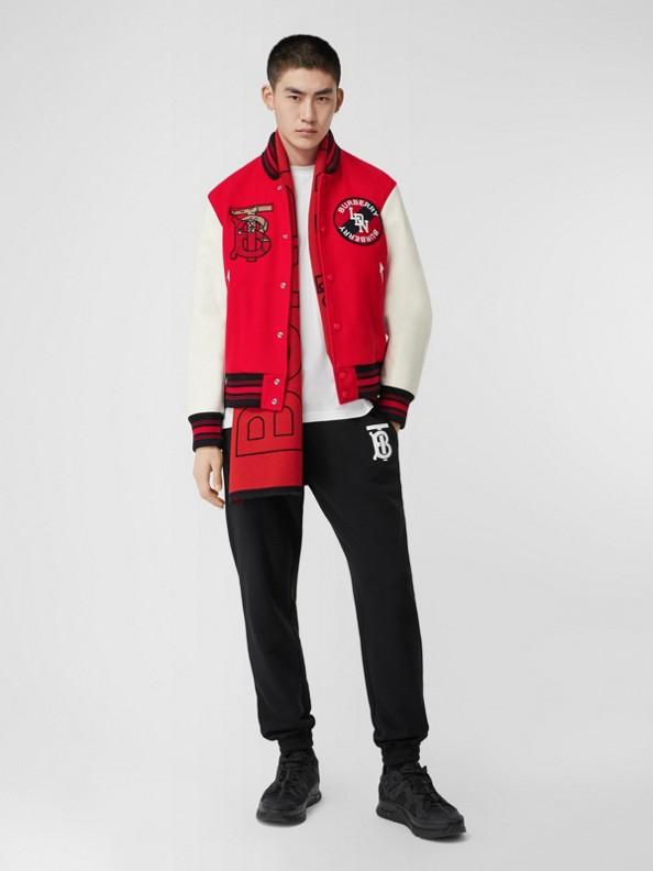 Jaqueta bomber de lã com monograma e mangas contrastantes (Vermelho Intenso)