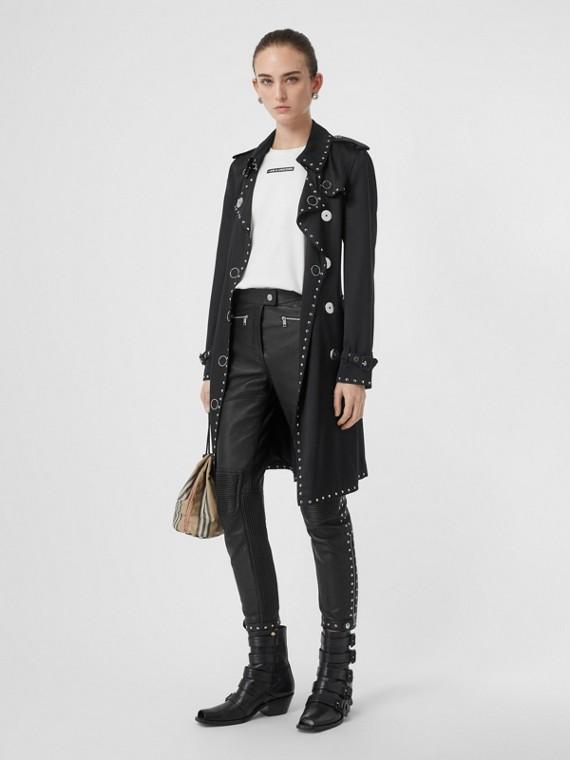 Pantalon en cuir clouté avec zip (Noir)