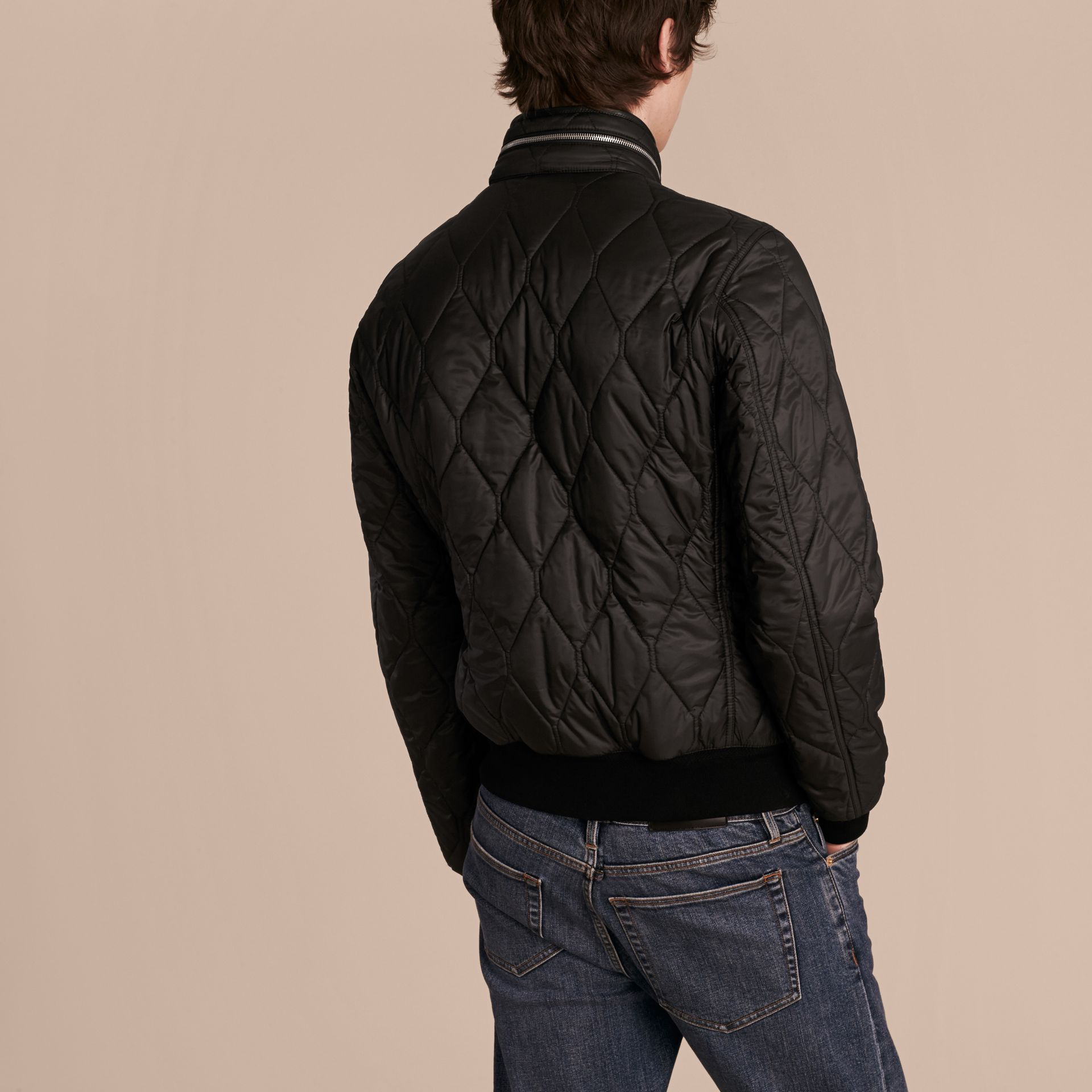 Black Stand-collar Military-quilted Jacket with Packaway Hood - gallery image 3