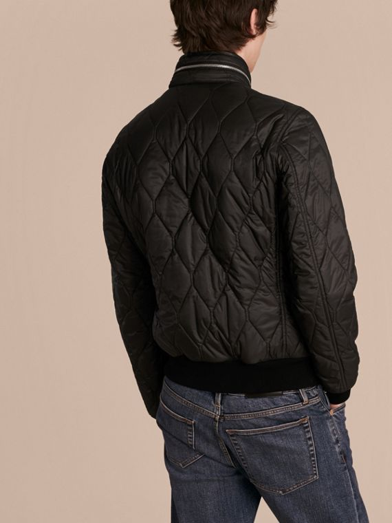 Black Stand-collar Military-quilted Jacket with Packaway Hood - cell image 2