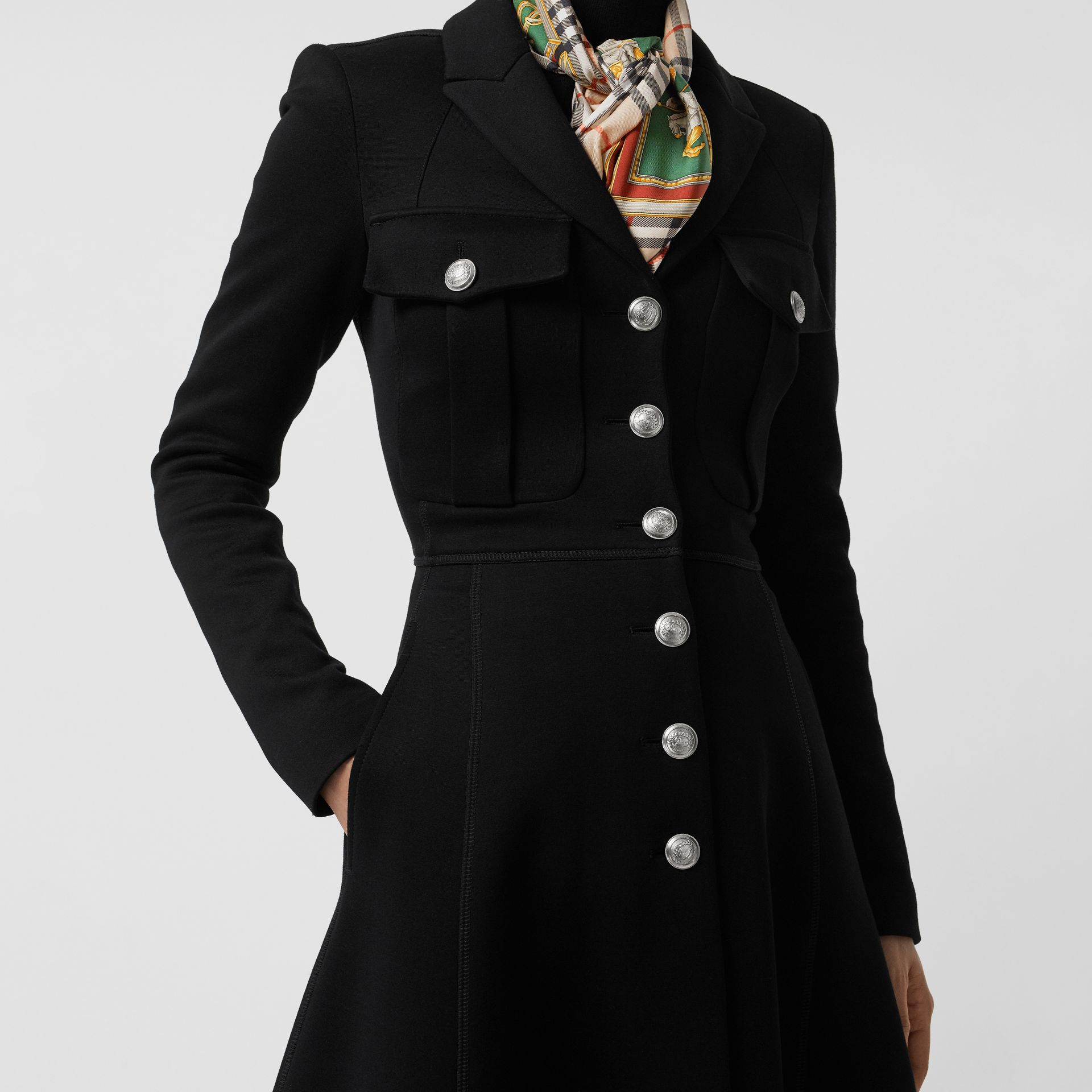 Bonded Cotton Blend Jersey Tailored Coat in Black - Women | Burberry - gallery image 1