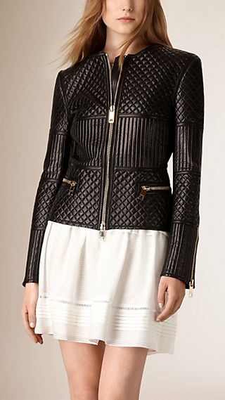 Quilted Lambskin Collarless Jacket