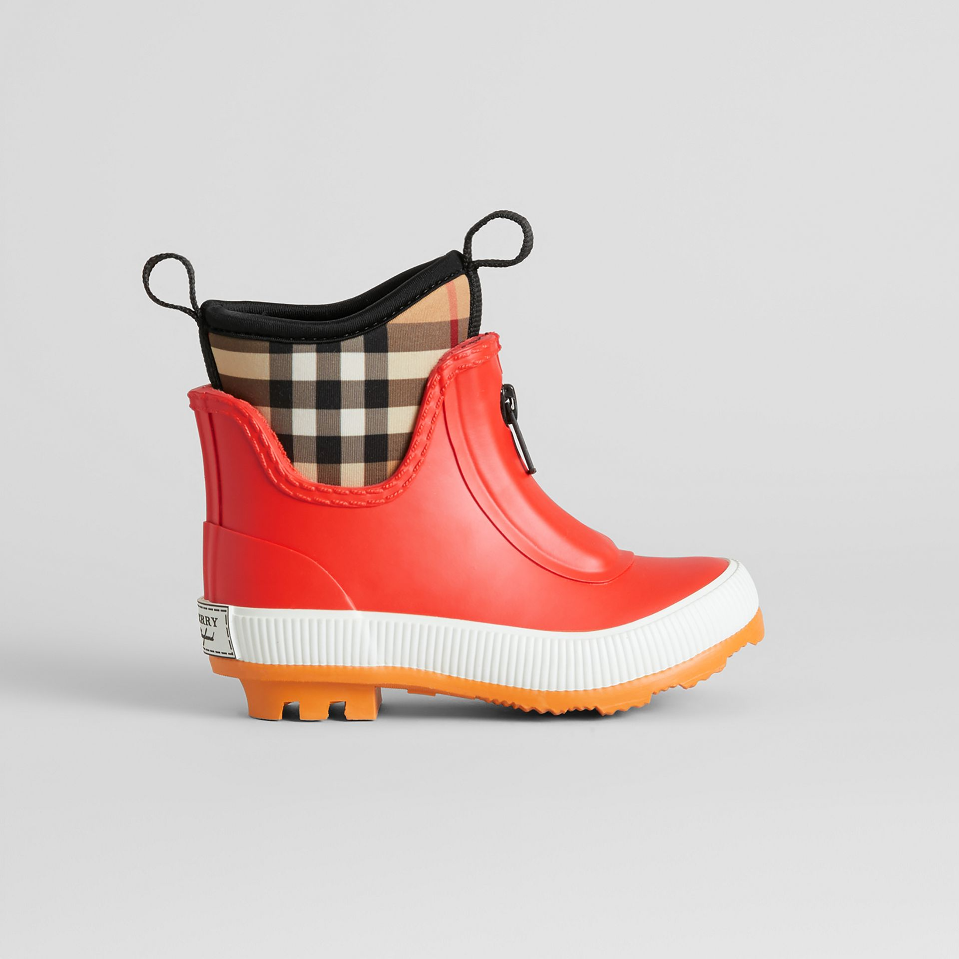 Vintage Check Neoprene and Rubber Rain Boots in Bright Red | Burberry Australia - gallery image 3