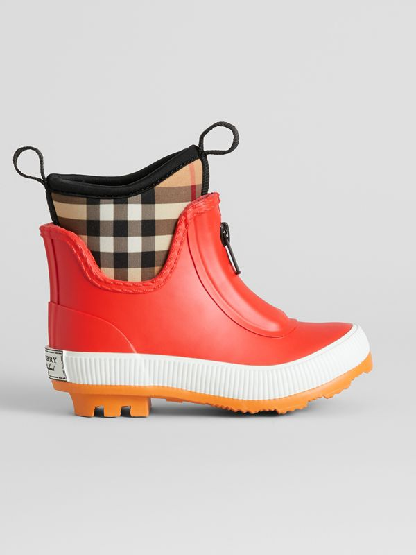 Vintage Check Neoprene and Rubber Rain Boots in Bright Red | Burberry United States - cell image 3