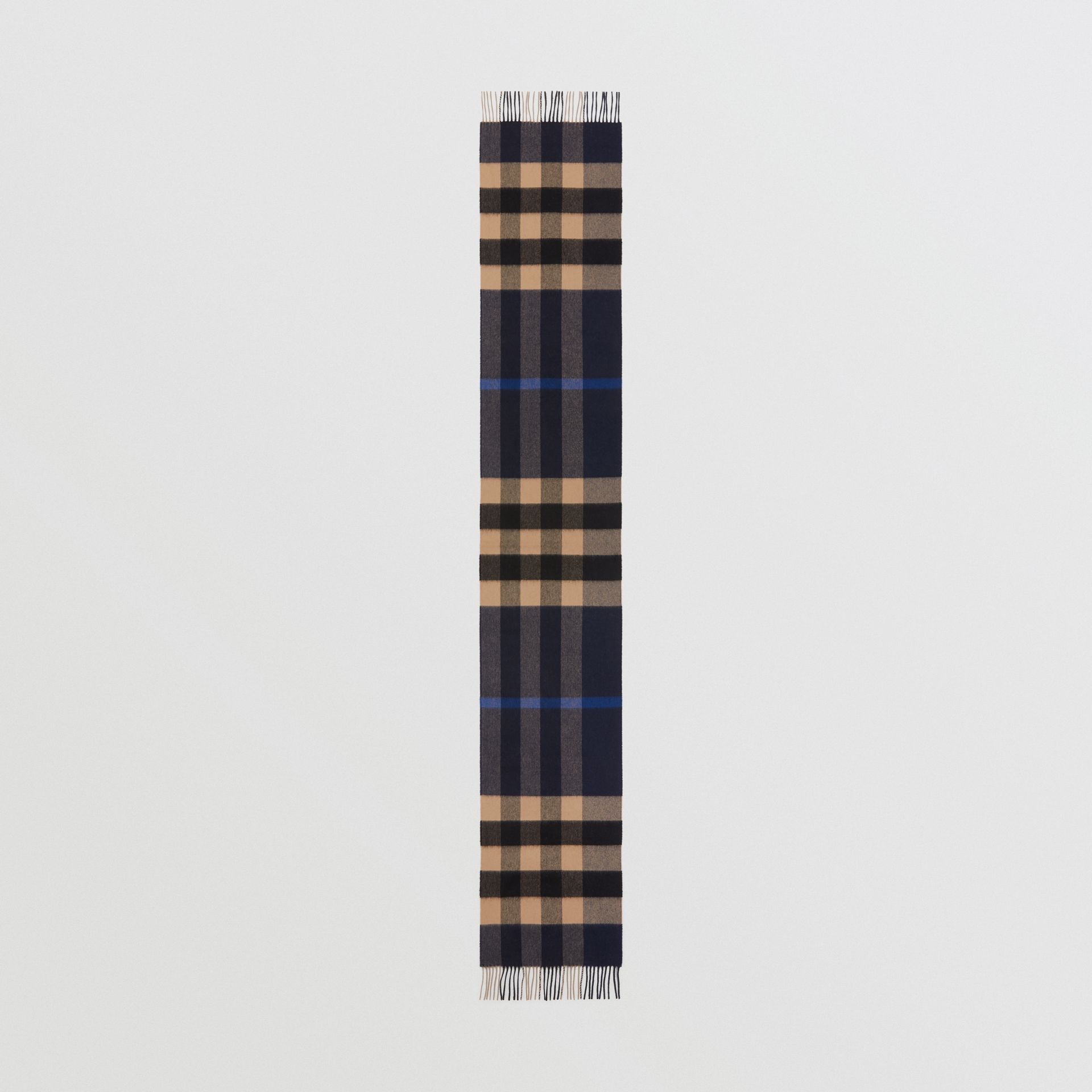 Check Cashmere Scarf in Indigo | Burberry - gallery image 3