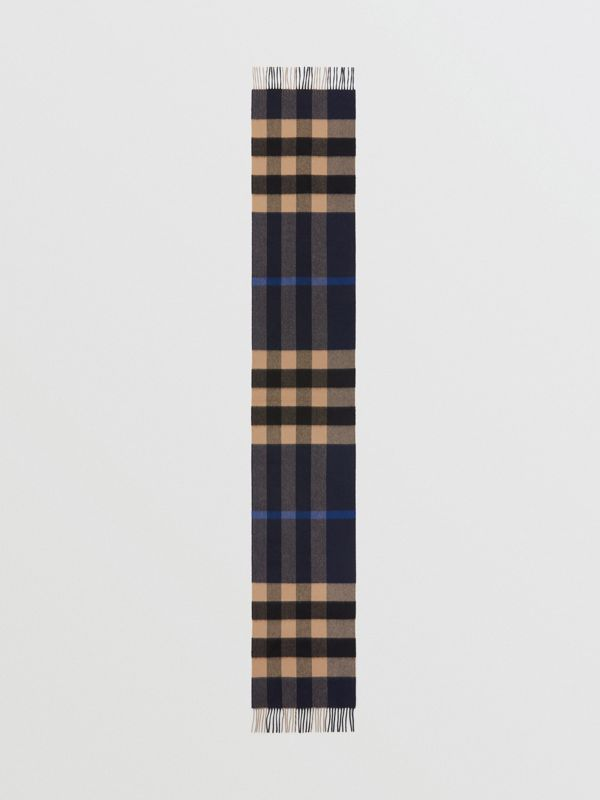 Check Cashmere Scarf in Indigo | Burberry - cell image 3