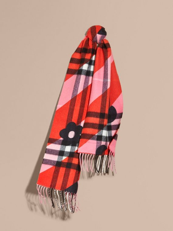Check Cashmere Scarf with Stripe and Floral Print