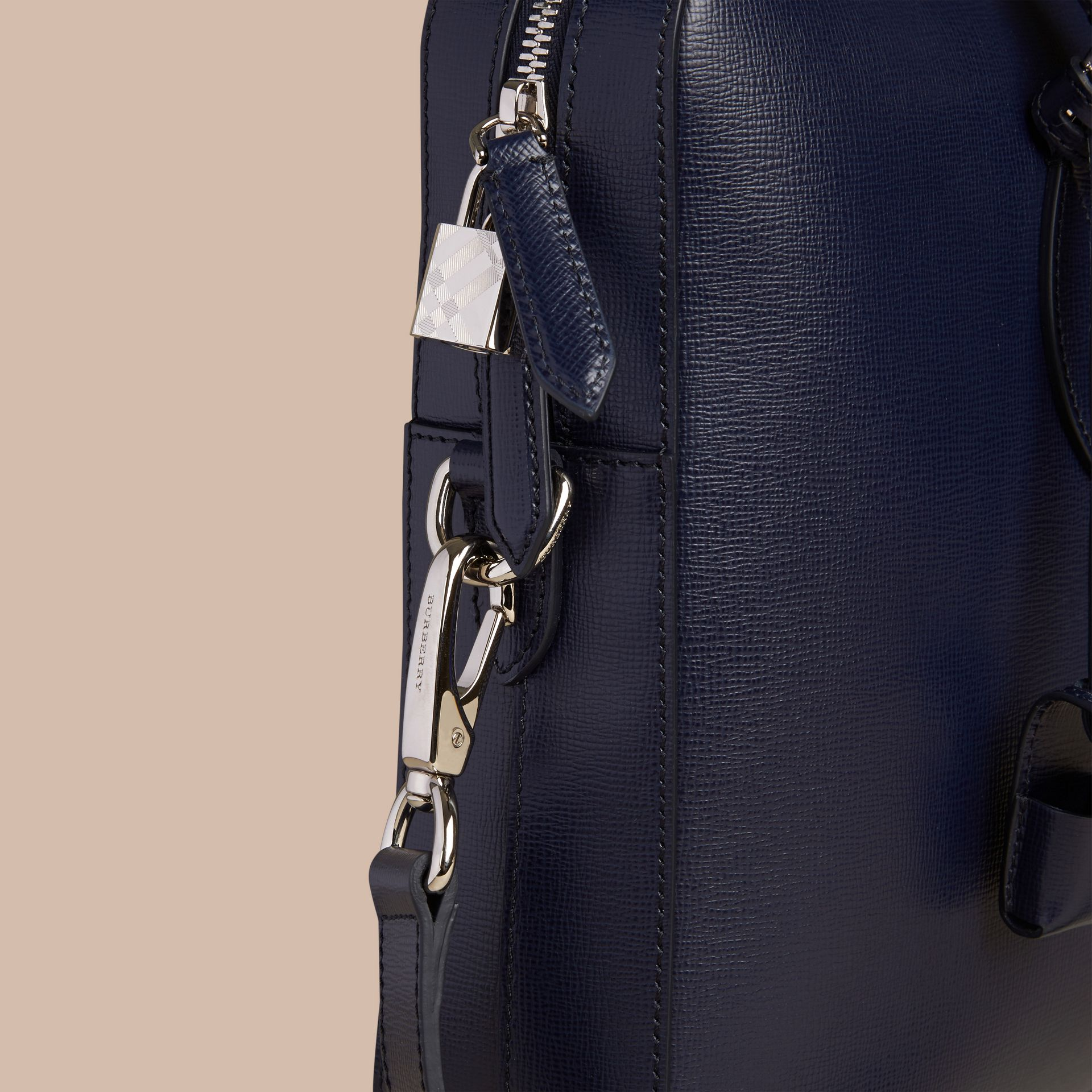 London Leather Briefcase in Dark Navy - Men | Burberry Canada - gallery image 5