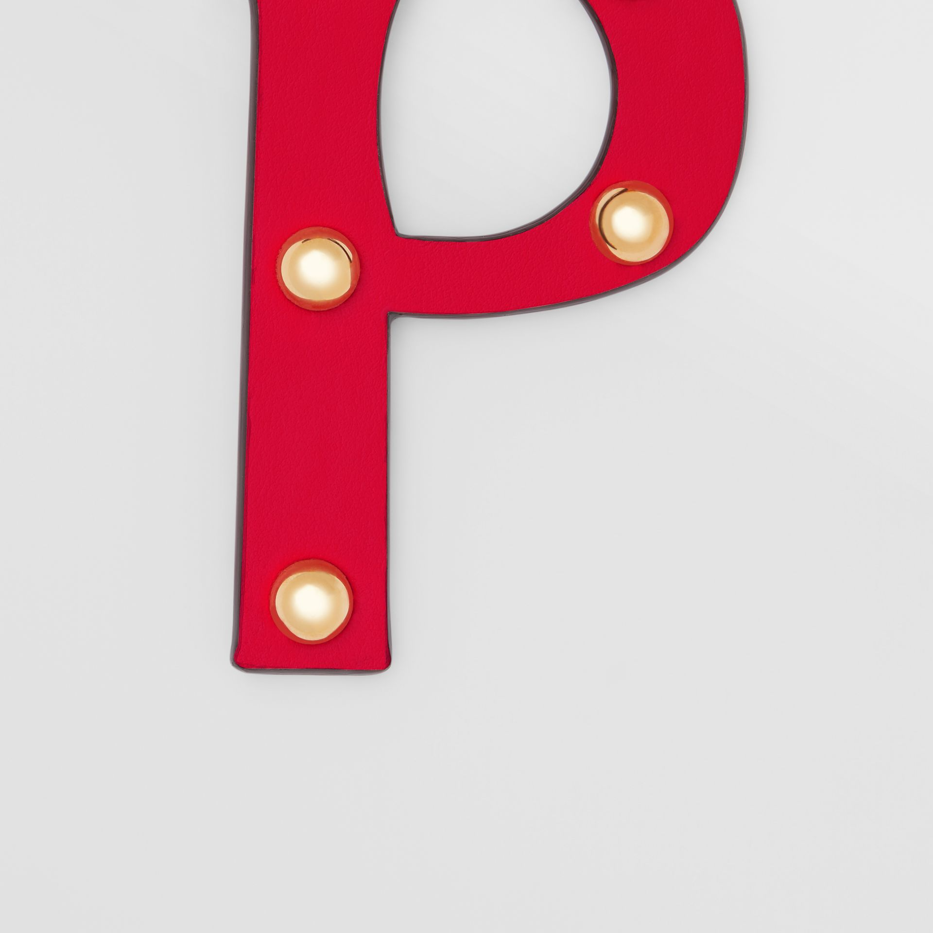 'P' Studded Leather Alphabet Charm in Red/light Gold - Women | Burberry Hong Kong S.A.R - gallery image 1