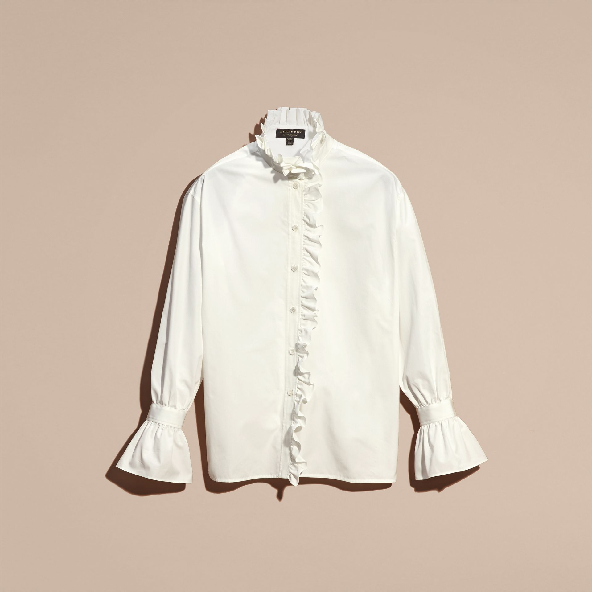 White Cotton Shirt with Ruffles - gallery image 4