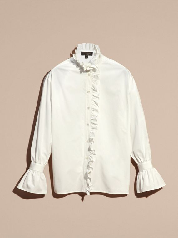 White Cotton Shirt with Ruffles - cell image 3