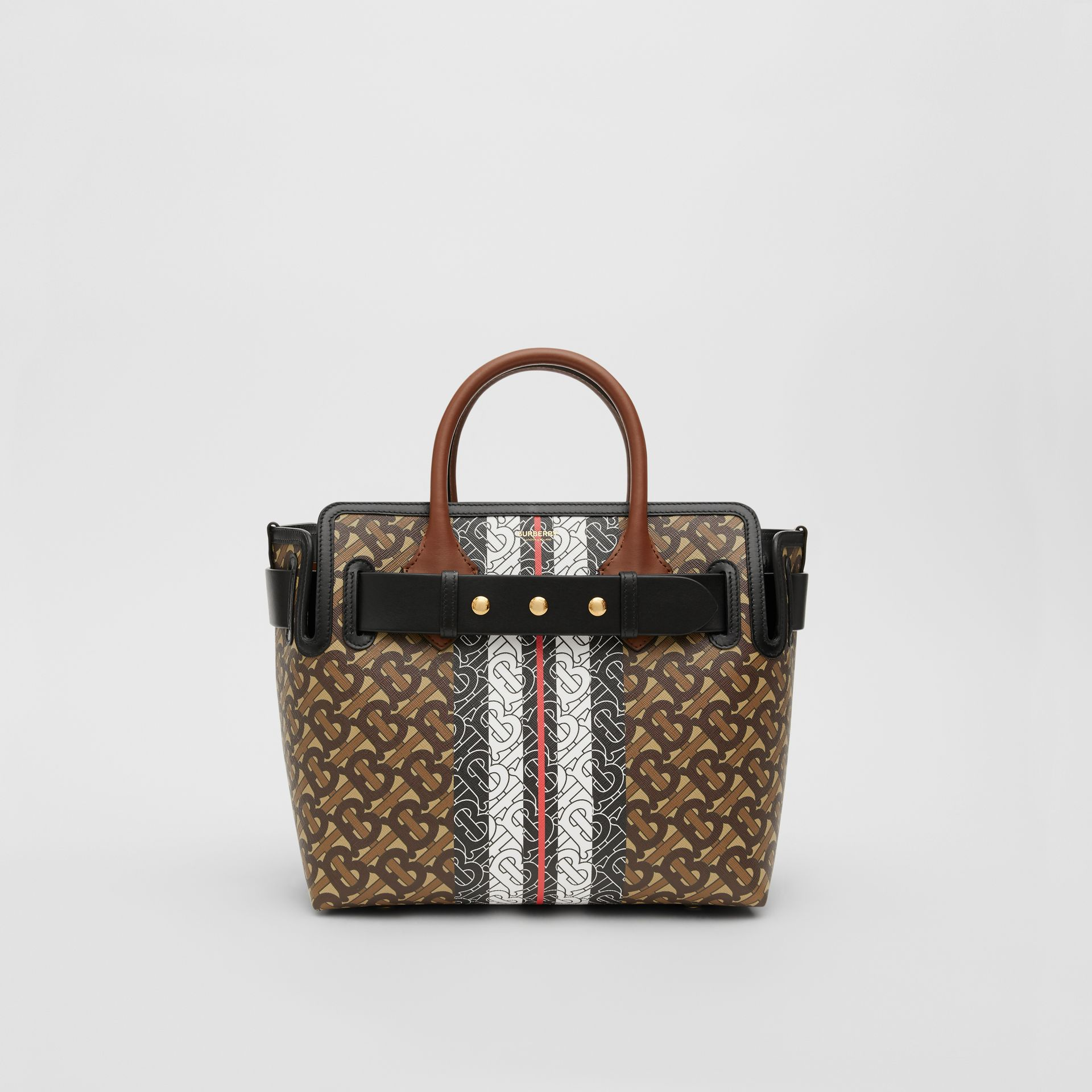 The Small Monogram Stripe E-canvas Belt Bag in Bridle Brown - Women | Burberry United States - gallery image 0