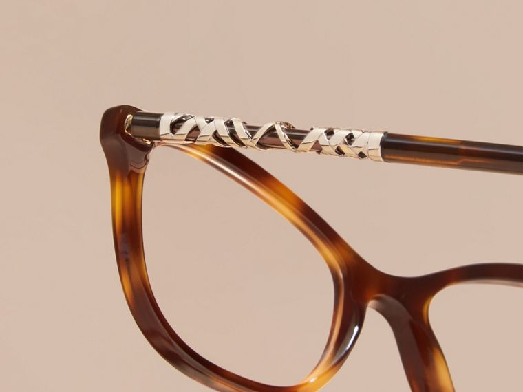 Light russet brown Check Detail Oval Optical Frames Light Russet Brown - cell image 1