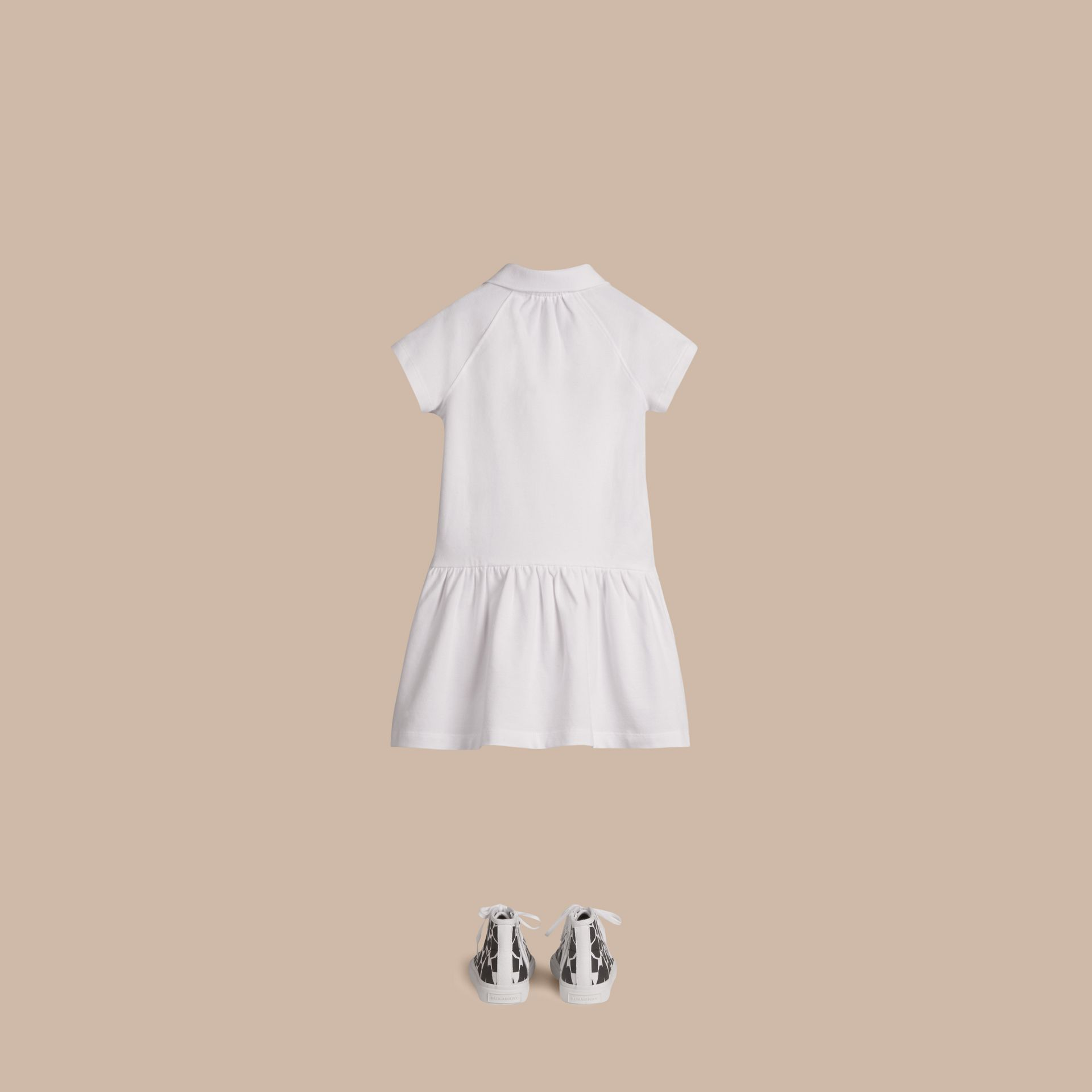 White Check Placket Cotton Blend T-Shirt Dress White - gallery image 3