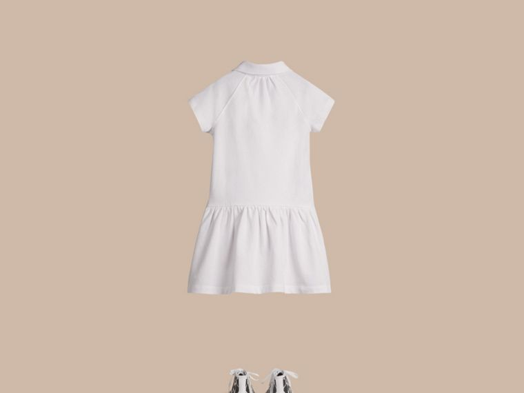 White Check Placket Cotton Blend T-Shirt Dress White - cell image 2