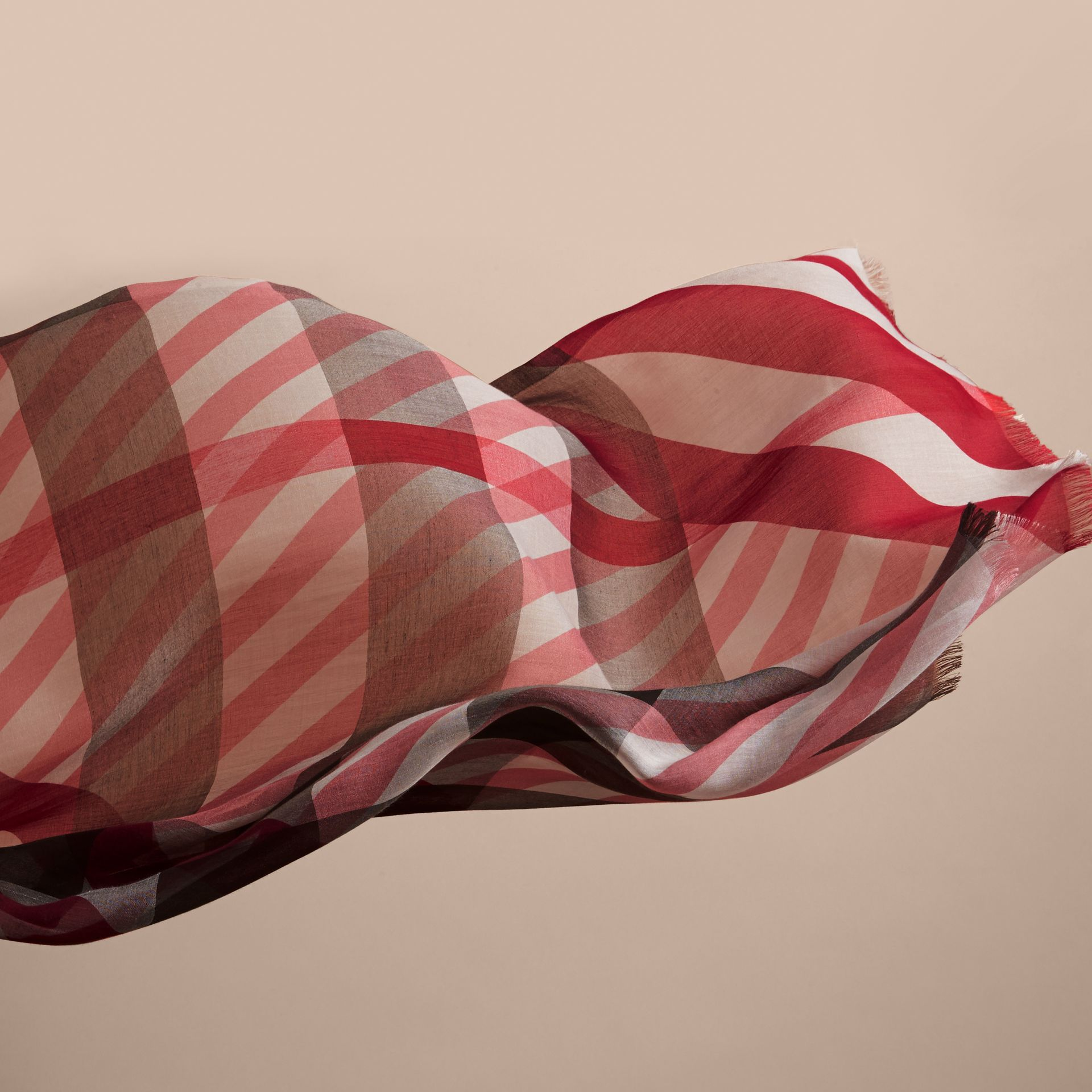 Check and Stripe Modal Cashmere Silk Scarf in Mauve Pink/stone - Women | Burberry - gallery image 4