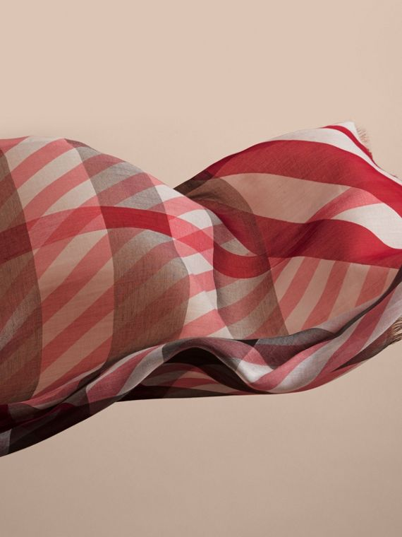 Check and Stripe Modal Cashmere Silk Scarf in Mauve Pink/stone - Women | Burberry - cell image 3