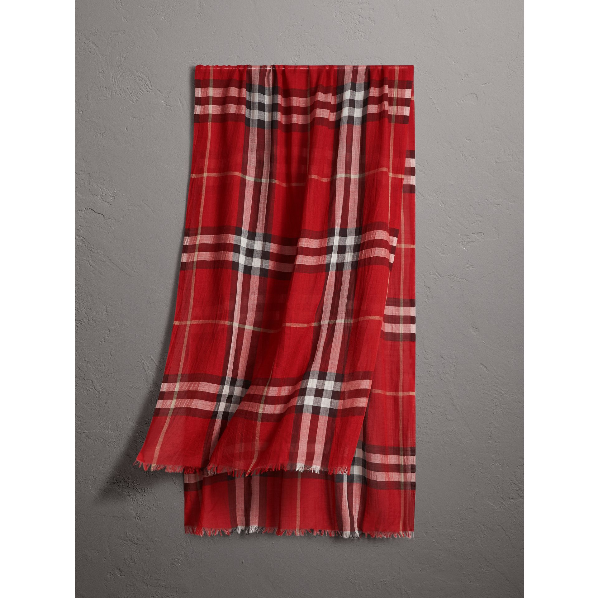 Lightweight Check Wool and Silk Scarf in Parade Red - Women | Burberry Australia - gallery image 0