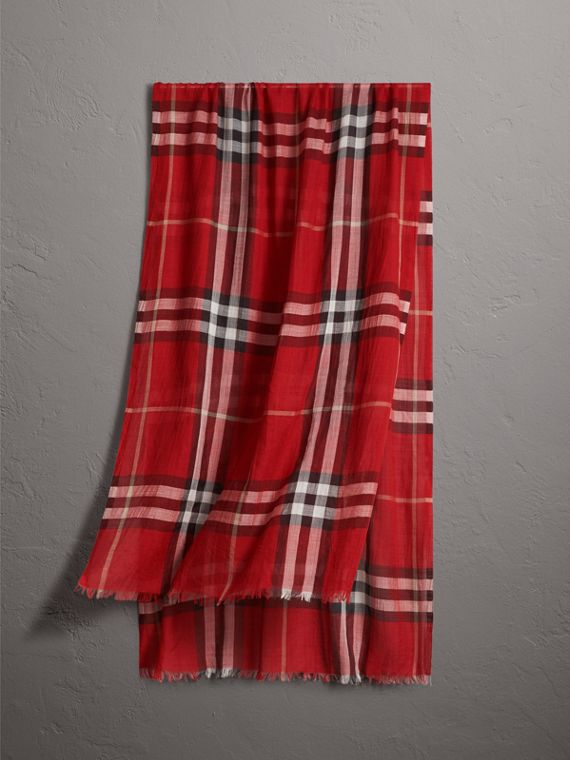Lightweight Check Wool and Silk Scarf in Parade Red