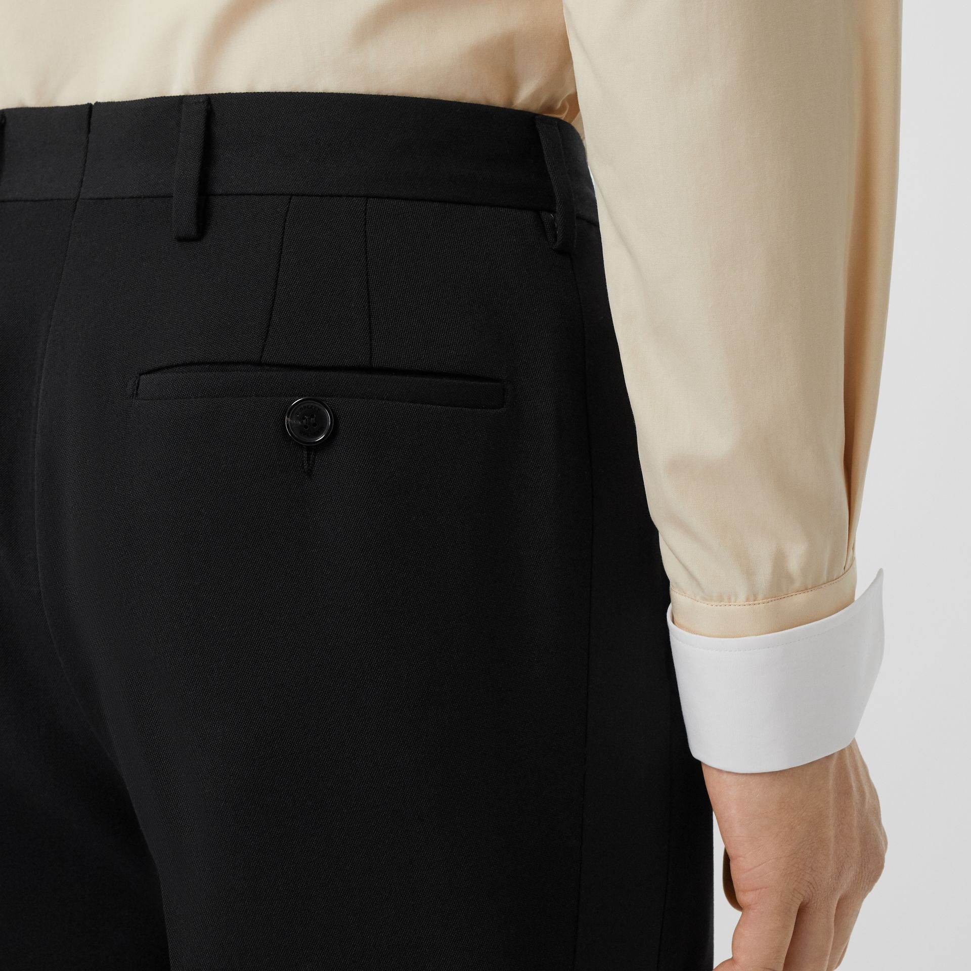Classic Fit Wool Tailored Trousers in Black - Men | Burberry Australia - gallery image 5