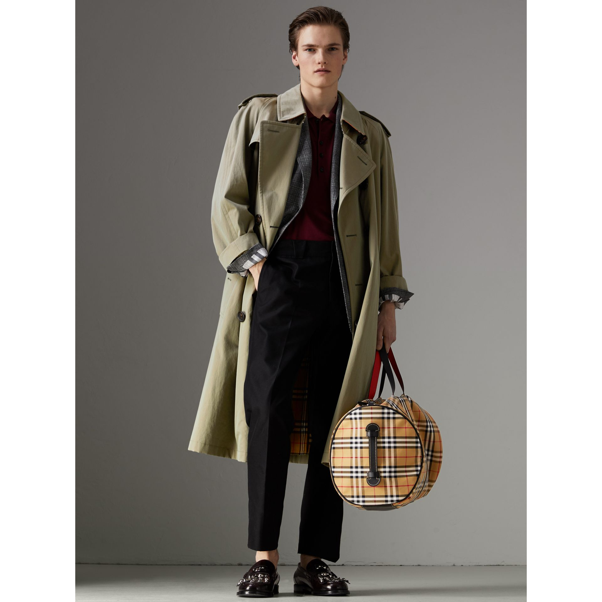 Large Vintage Check and Leather Barrel Bag in Military Red - Men | Burberry Australia - gallery image 2