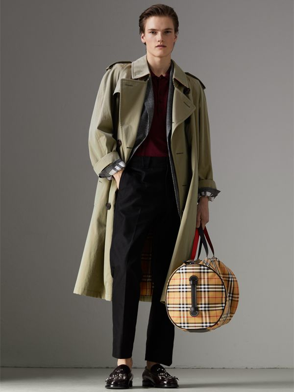 Large Vintage Check and Leather Barrel Bag in Military Red - Men | Burberry Australia - cell image 2