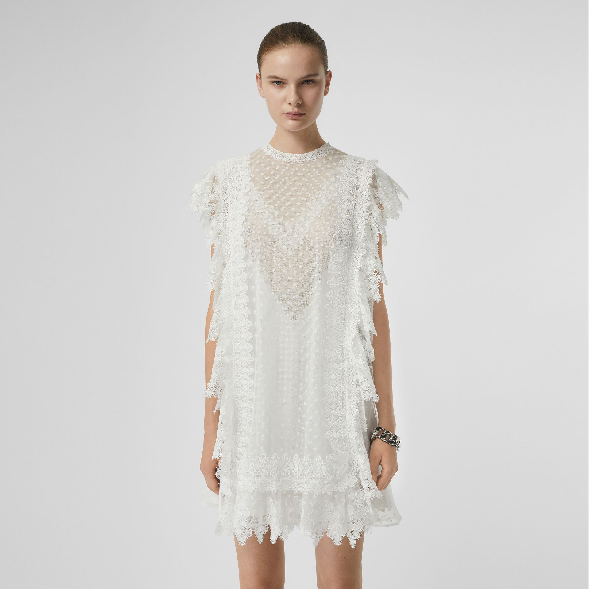 Scalloped Lace and Polka-dot Tulle Dress in White - Women | Burberry - gallery image 4