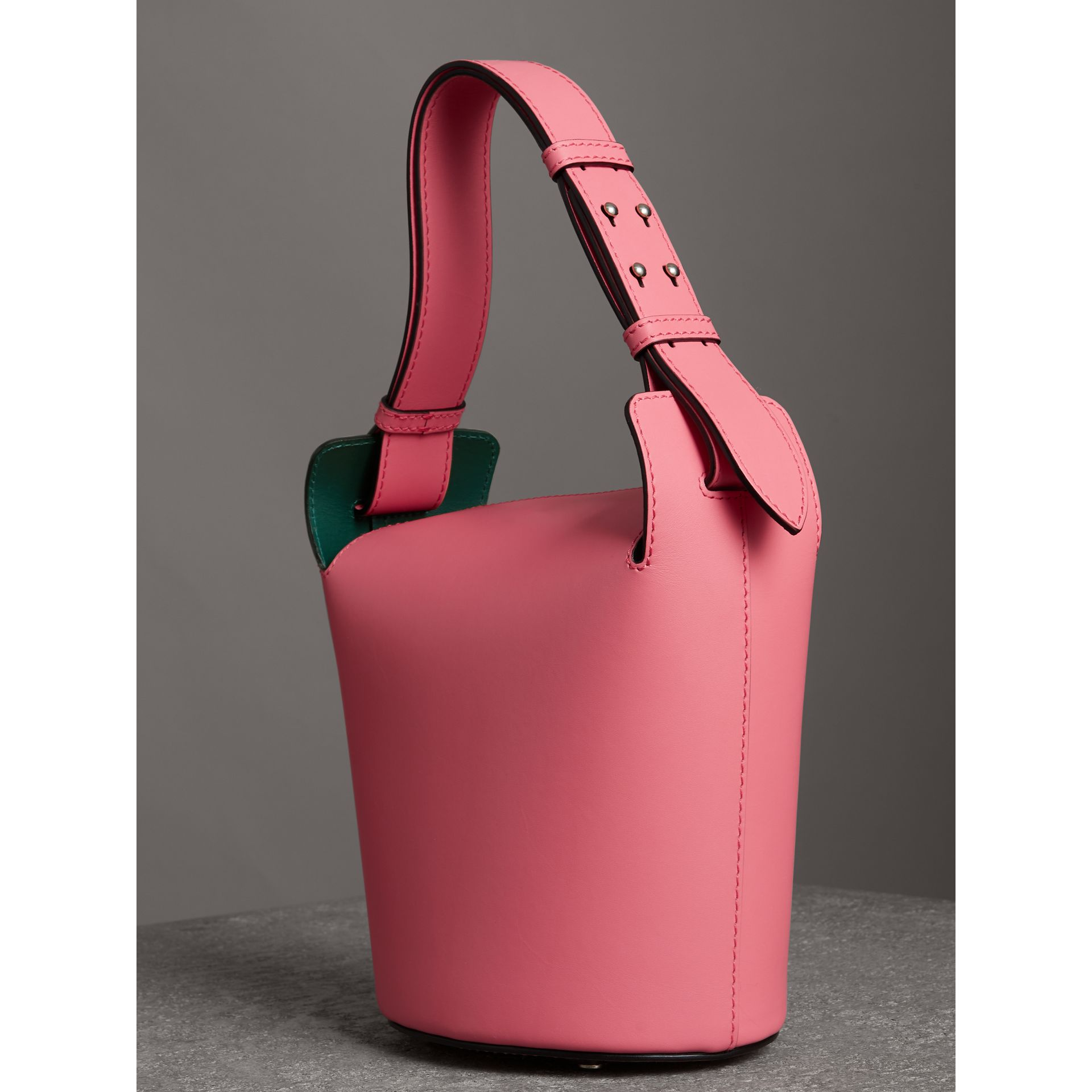 The Small Leather Bucket Bag in Bright Coral Pink - Women | Burberry United Kingdom - gallery image 3