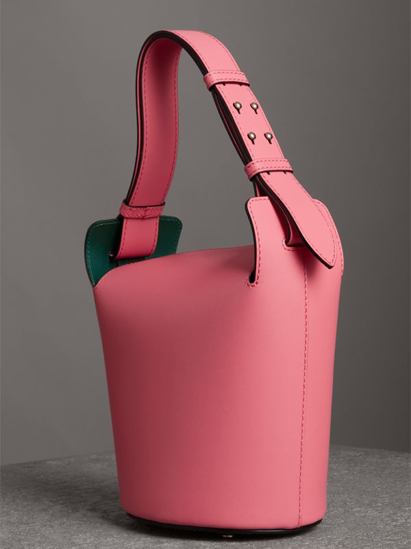 The Small Leather Bucket Bag in Bright Coral Pink - Women | Burberry United Kingdom - cell image 3