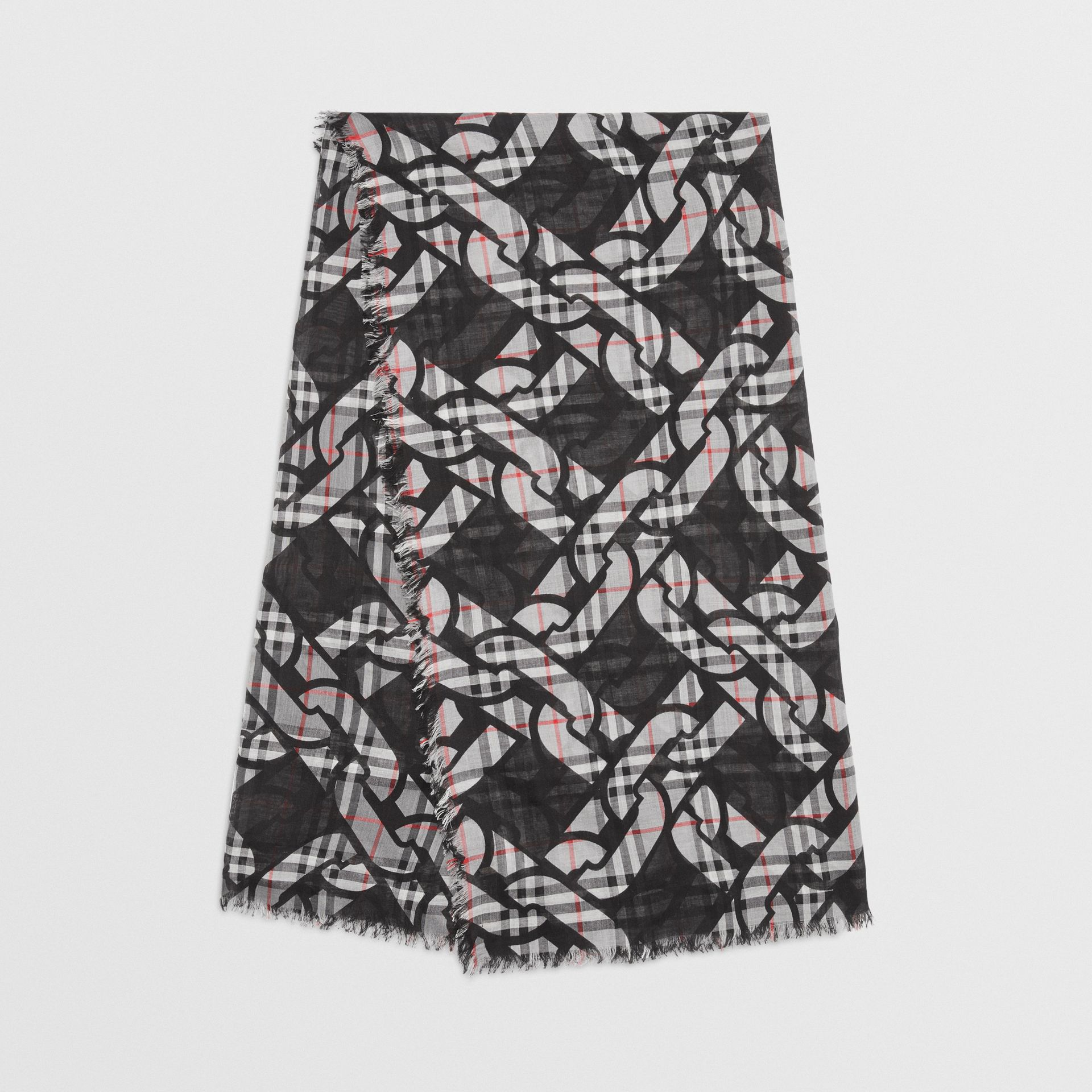 Link Print Vintage Check Large Square Scarf in Charcoal | Burberry Singapore - gallery image 0