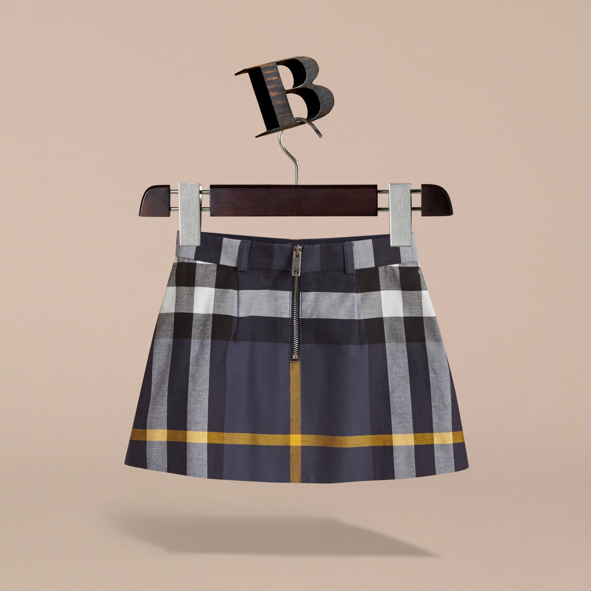 Pleated Check Cotton Skirt in Pale Navy - Girl | Burberry - gallery image 4
