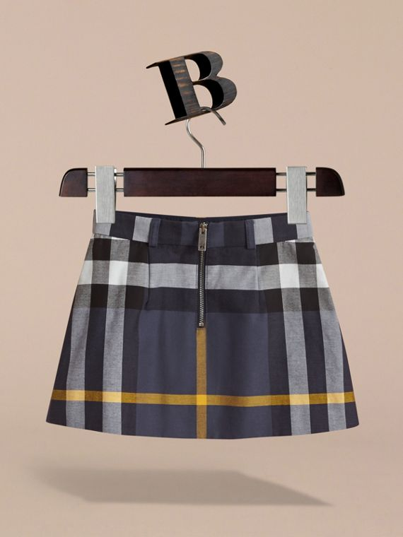 Pleated Check Cotton Skirt in Pale Navy - Girl | Burberry - cell image 3