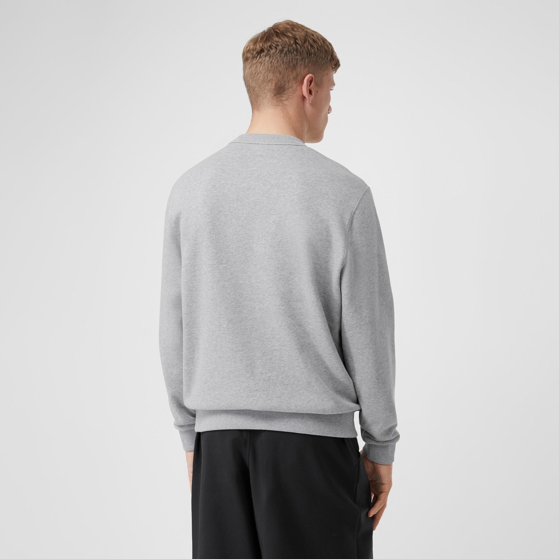 Logo Appliqué Cotton Sweatshirt in Pale Grey Melange - Men | Burberry United Kingdom - gallery image 2