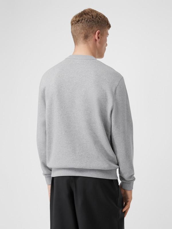 Logo Appliqué Cotton Sweatshirt in Pale Grey Melange - Men | Burberry United Kingdom - cell image 2