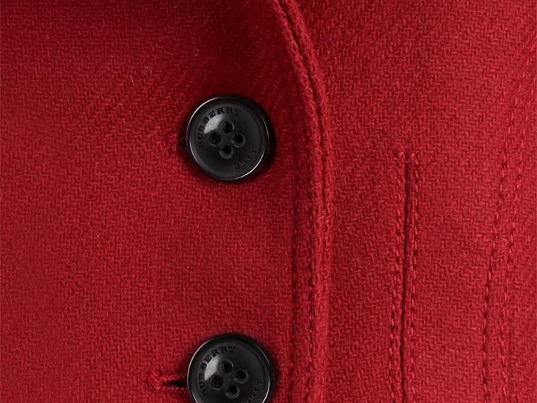 Rouge prune Manteau militaire ajusté en laine et cachemire mélangés - cell image 1