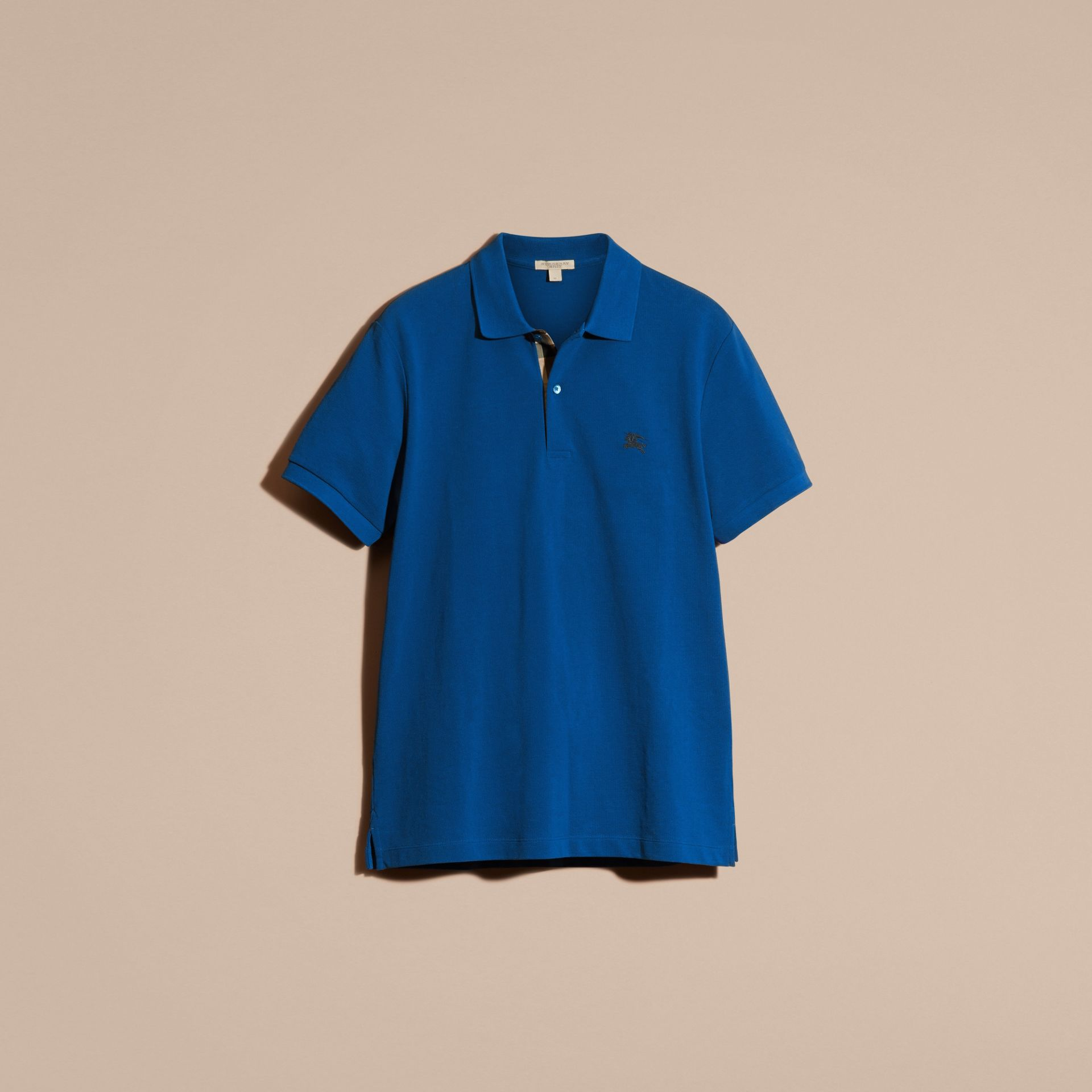 Cobalt blue Check Placket Cotton Piqué Polo Shirt Cobalt Blue - gallery image 3