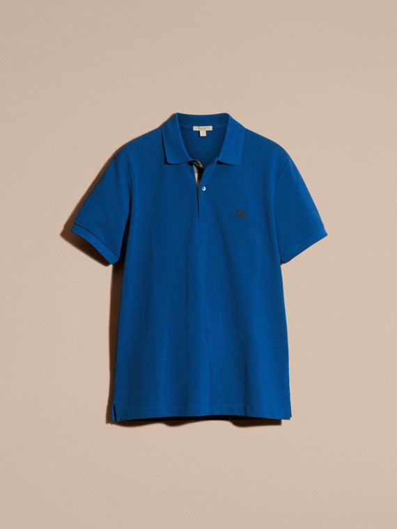 Cobalt blue Check Placket Cotton Piqué Polo Shirt Cobalt Blue - cell image 2