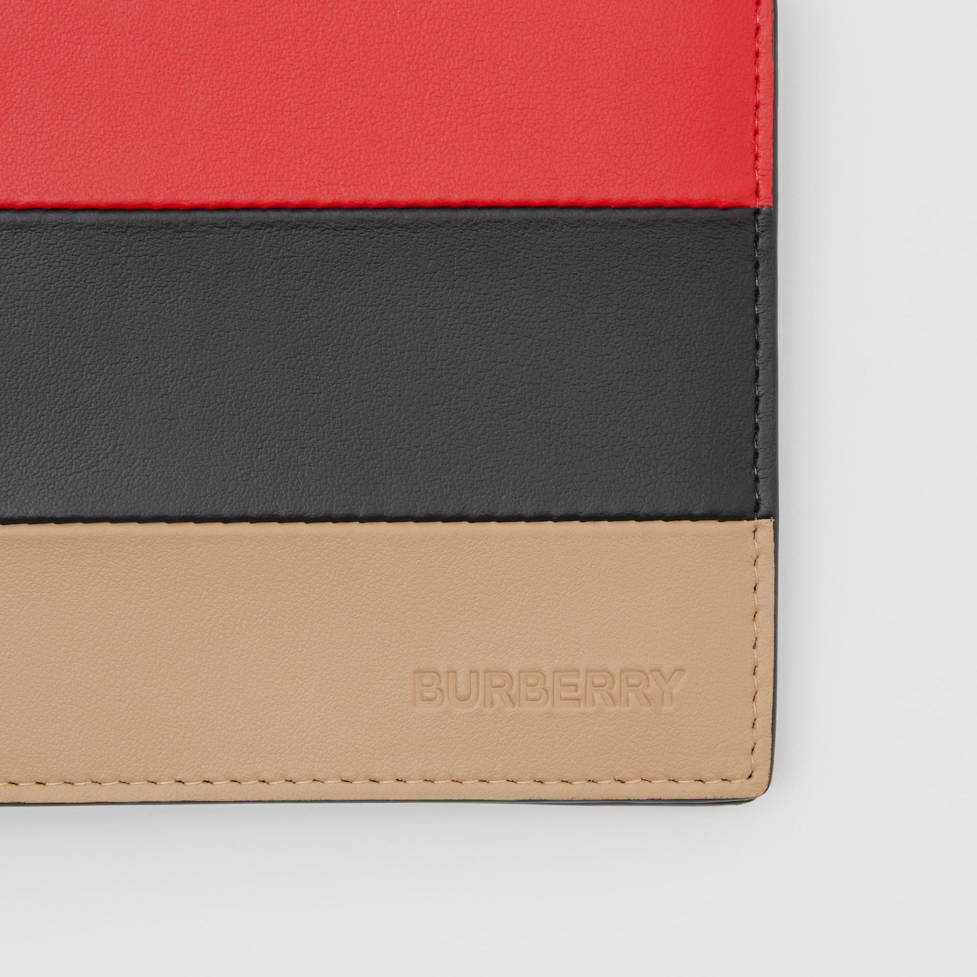 Colour Block Leather International Bifold Wallet in Red/black/beige - Men | Burberry Hong Kong S.A.R - gallery image 1