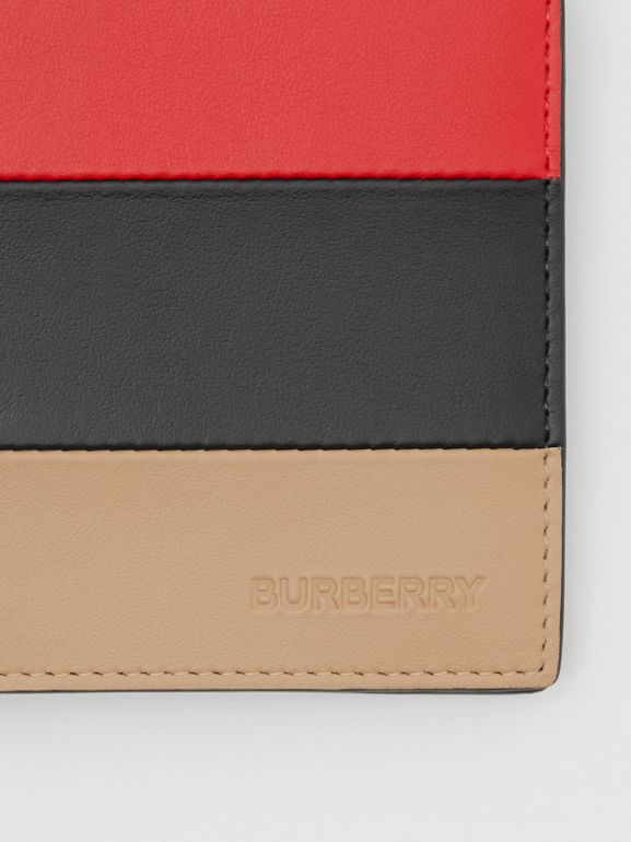 Colour Block Leather International Bifold Wallet in Red/black/beige - Men | Burberry Hong Kong S.A.R - cell image 1
