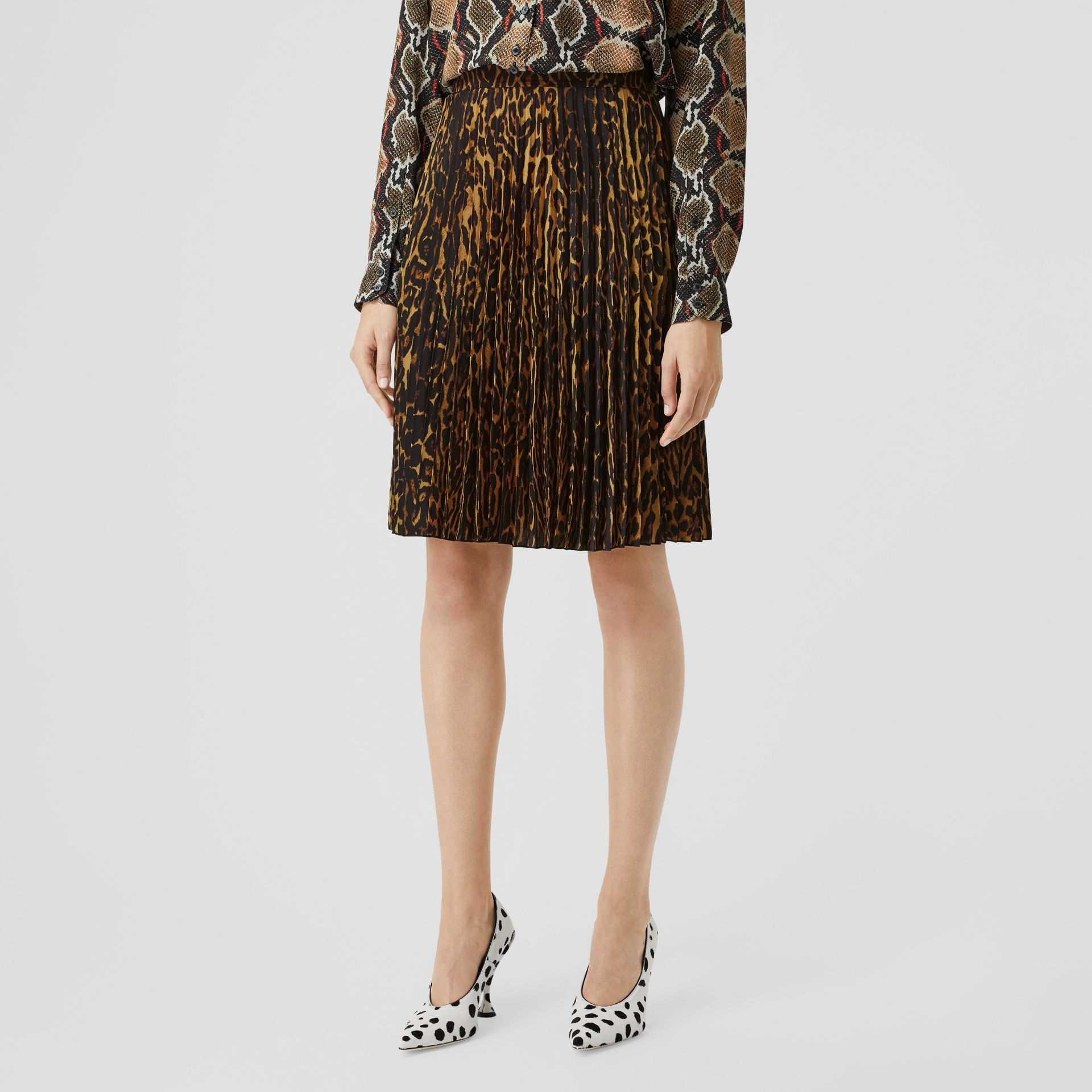 Leopard Print Pleated Skirt in Dark Mustard - Women | Burberry United Kingdom - gallery image 4