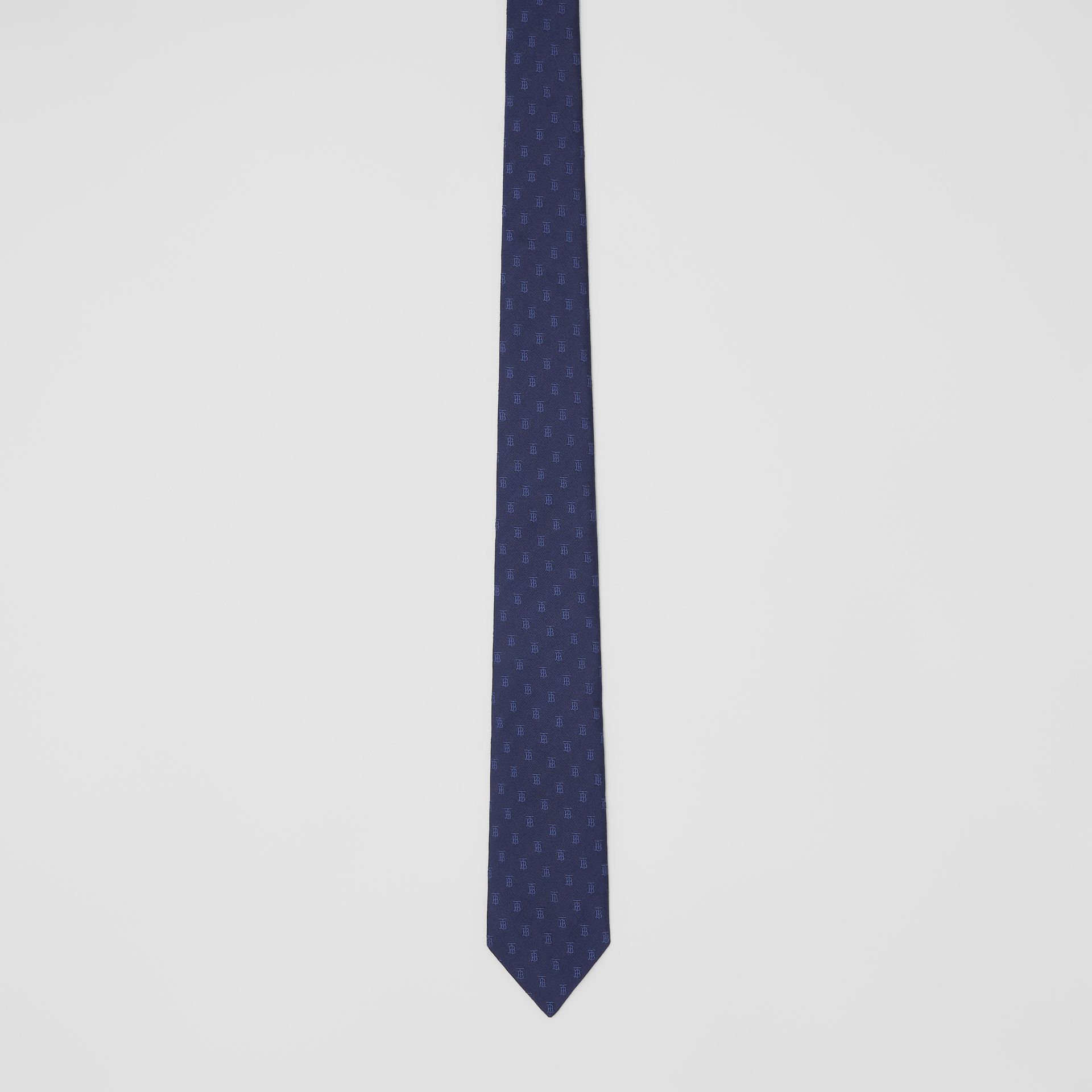 Classic Cut Monogram Motif Silk Jacquard Tie in Navy - Men | Burberry - gallery image 3