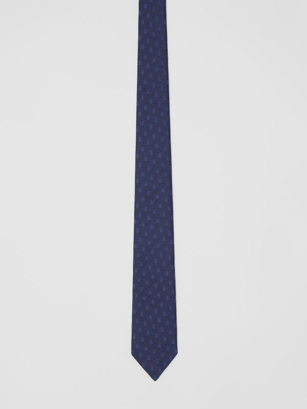 Classic Cut Monogram Motif Silk Jacquard Tie in Navy - Men | Burberry - cell image 3